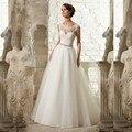 Cheap A Line Lace Wedding Dress 2017 Long beach Tulle White Beading Organza Vestido De Noiva Appliques Bride dresses with belts