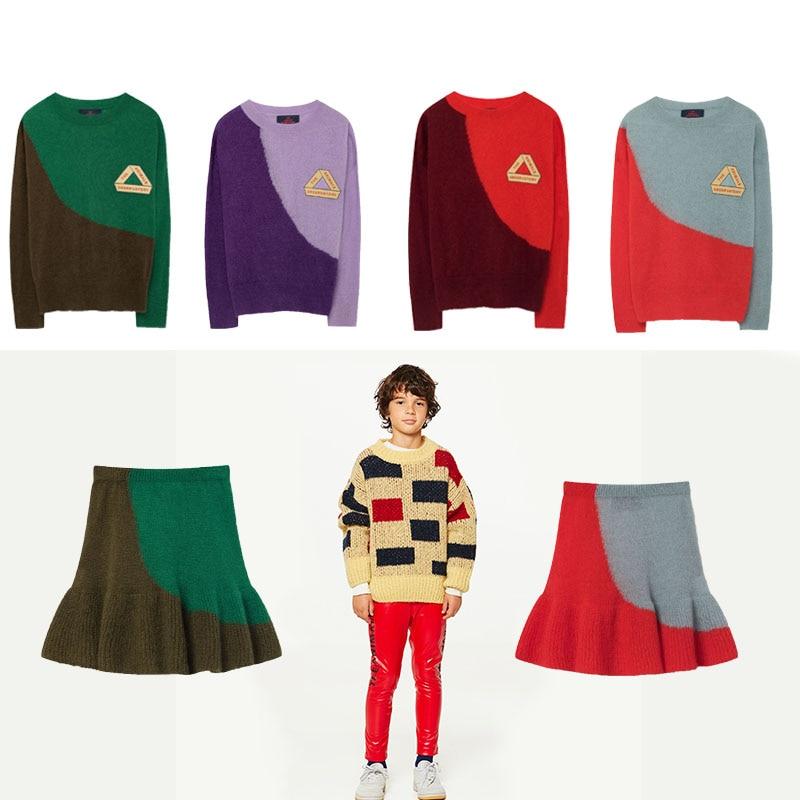 4444436b66c Children s Clothing 2018 Tao Autumn Winter Long Sleeve Bicolor Bull Sweater  + Swan Skirt Knitted Girls
