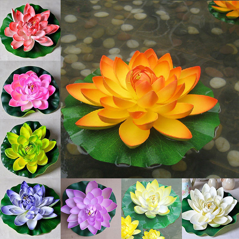 1Pcs Artificial Lotus Water Lily Floating Flower Pond Tank Plant Ornament Home Garden Pond Decoration