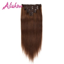 Alishow Double Drawn Clip In Human Hair Extensions Silky Straight Remy Hair Brown 7pcs 100% Real Human Hair Clips Full Head 120g