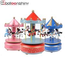 BalleenShiny Baby Kinder Kreative Karussell Neuheit Jungen Mädchen Kinder Spielzeug Merry-Go-Round Holz Für Mädchen Geburtstag Hochzeitsgeschenk
