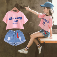 2019 Summer Clothes Set School Tracksuit Kids Short Sleeve Shirt + Ripped Jeans Shorts 2pcs Toddler Girl Clothing Teens 9 10 12