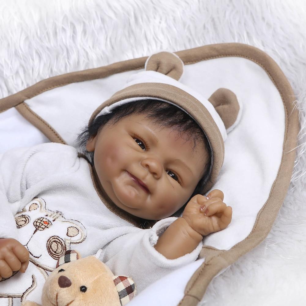 Black baby dolls pop African 18inch bebe reborn silicone vinyl 40cm newborn poupee boneca baby soft