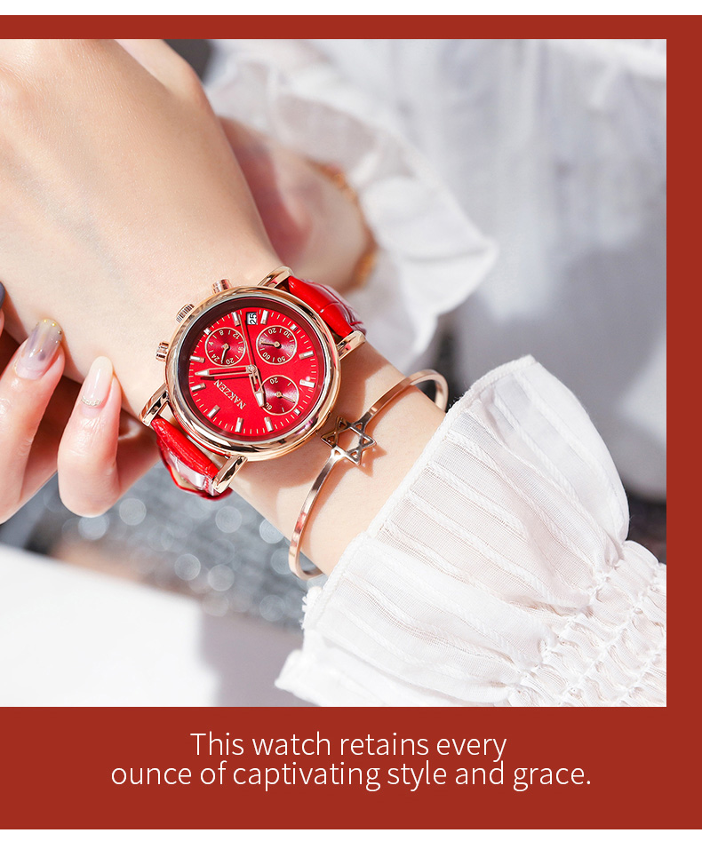 Fashion women 39 s watch Japanese movement three eyes six needle calendar 24 hours waterproof watch leather strap SS5220L in Women 39 s Watches from Watches