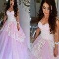 Vestidos De Baile de Luz Púrpura Sweetheart Lavanda Prom Vestidos Corsé Volver Perlas Partida Encaje vestido de Bola Vestidos De Baile Africanos