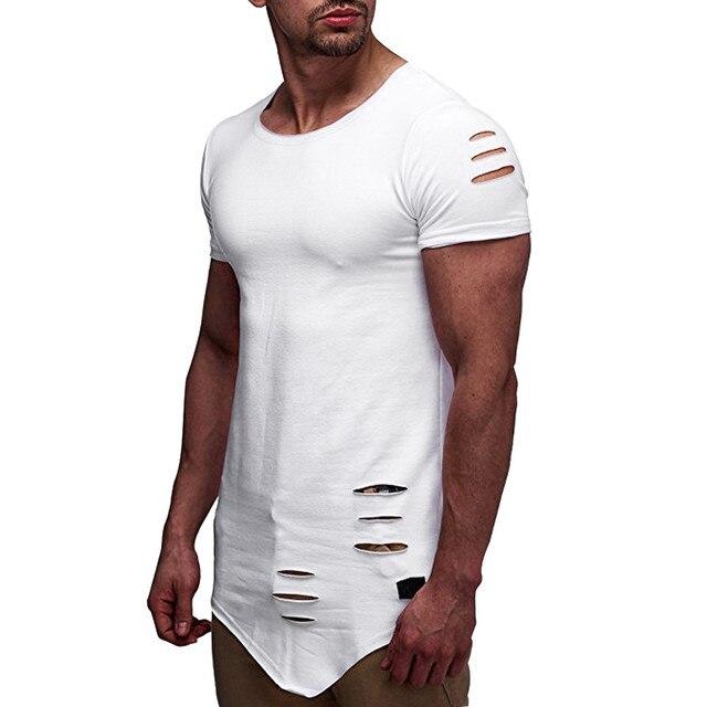 Harajuku Tops camiseta hombres de manga corta Camiseta hombres camisa agujero Streetwear Tops camiseta hombres ropa hombre 2019 verano