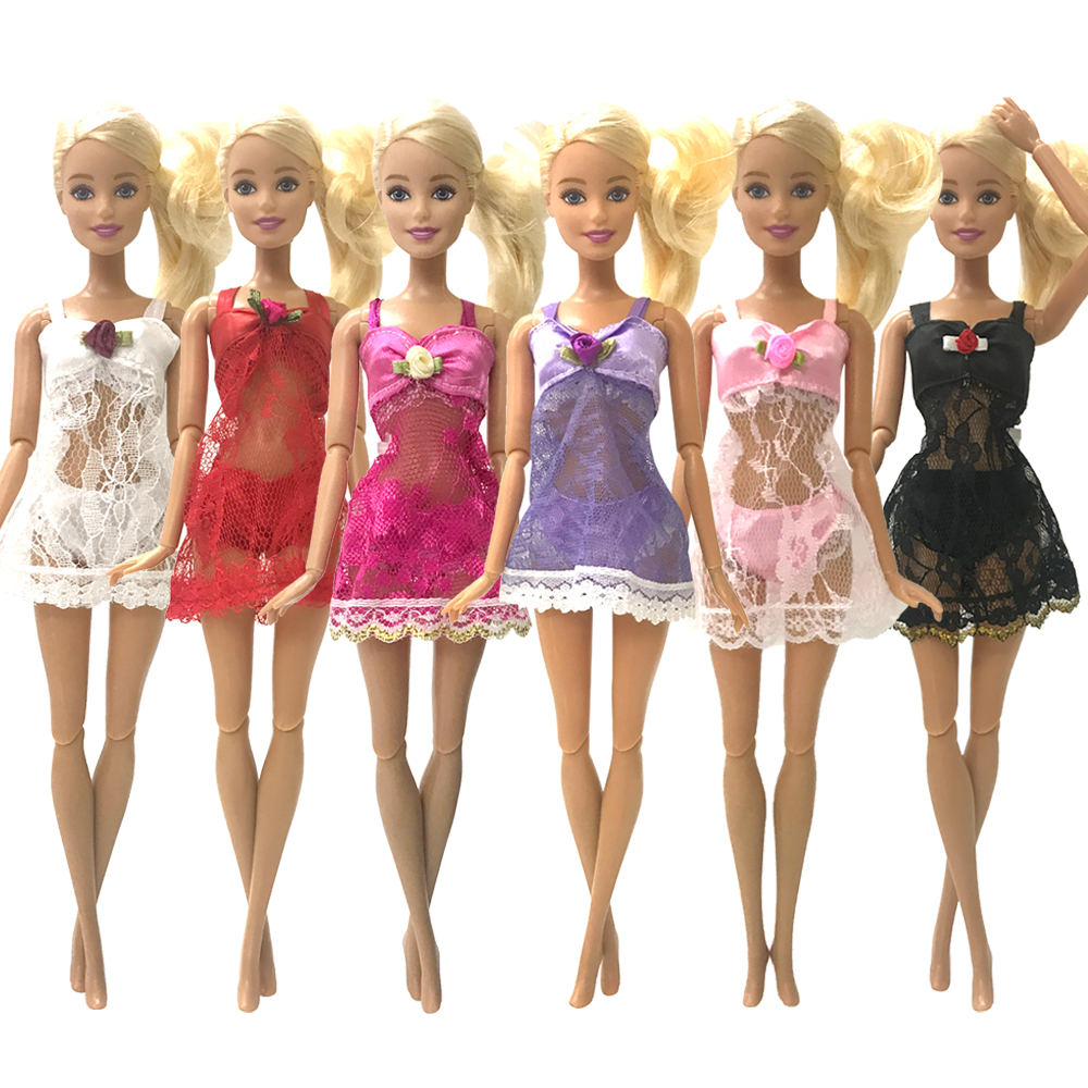 NK  One Set Doll Outfit Pajamas +Underwear +Bra  Sexy Lace Dress Clothes For Barbie Doll Accessories  For Children JJ
