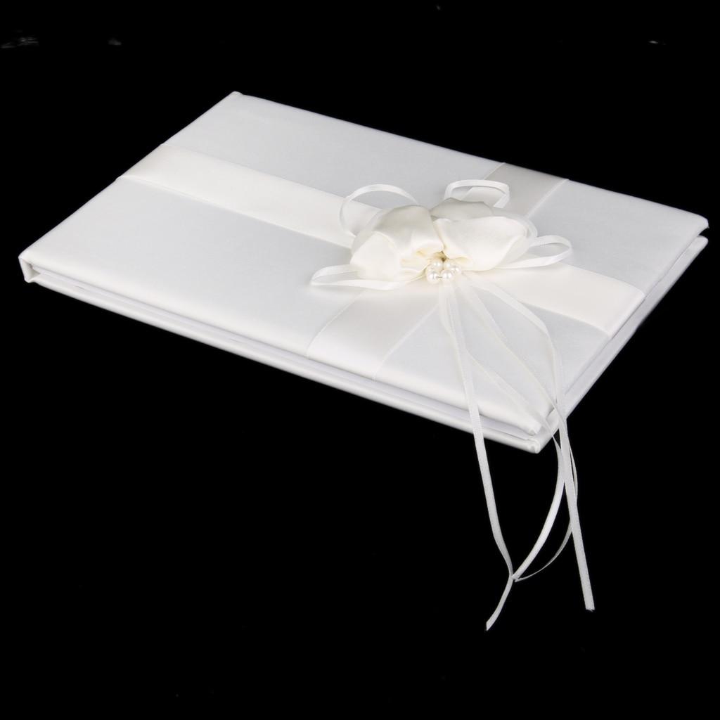 nueva caliente de marfil elegante de la boda libro de visitas con satn flor perla de