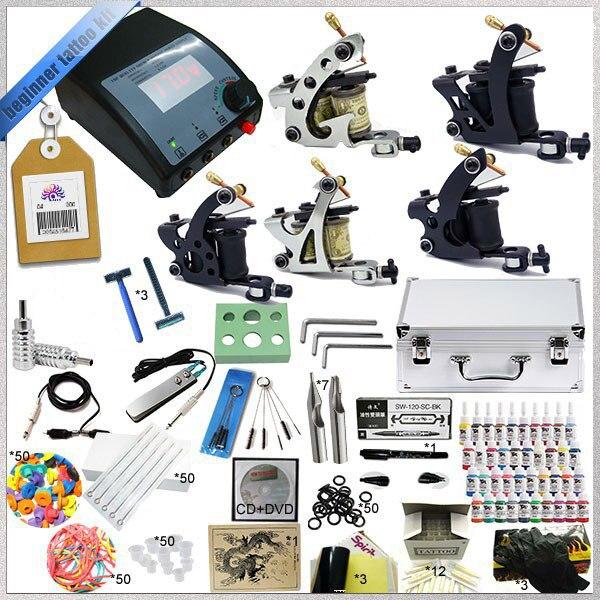 Complete Tattoo Kit 5 Starter Tattoo Machine Guns 40 Tattoo Inks Power Supply Needle Aluminum Kit Case