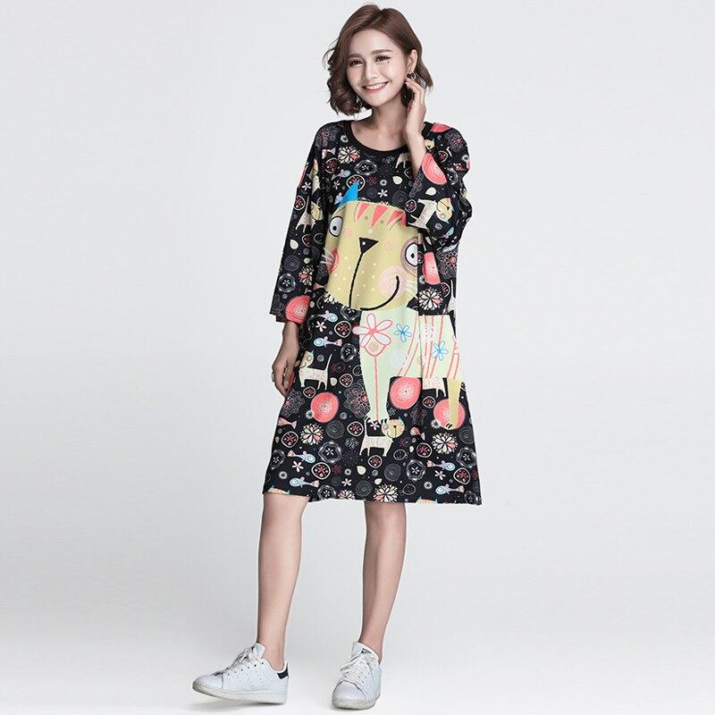 Tops Vestidos Señoras Kawaii Verano 5xl Multiple Camiseta Mujer Europeo Moda 2018 De Manga Gran Corta Tamaño Más Mujeres Del Impresión Gato 8PqHq7w