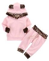 2pcs Suit Baby Girl Clothing Sets Newborn Baby Girls Pink Long Sleeve Leopard Hoodie Sweatshirt Pants