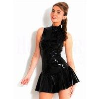 Женская сексуальная латексная Клубная одежда, обтягивающее платье, фетиш, черное, wetlook, искусственная кожа, комбинезон, эротический, для тан...