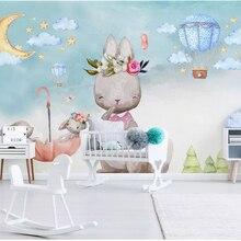 beibehang Nordic minimalist hand-painted personality wallpaper bunny balloon children's room backgro