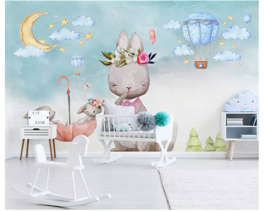 Beibehang Nordic Minimalist Hand-painted Personality Wallpaper Bunny Balloon Children's Room Background Wall Papers Home Decor