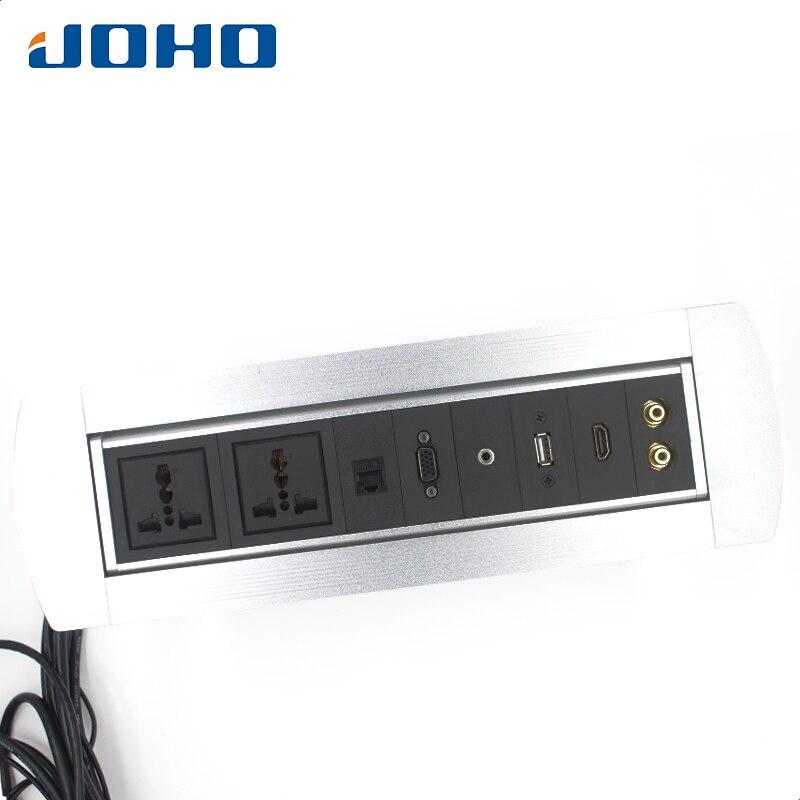 JOHO 10A Stocket de puissance manuel retournant des meubles de conférence prise de Table de bureau en aluminium prise de Rotation électrique avec USB