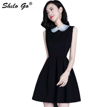 Elegant Black Dress Women Pearl Embellished Party Dress Zip Fit Sleeveless Sleeve Beading Peter pan Collar Skater Dresses Female недорго, оригинальная цена