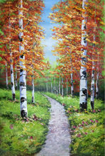 Original Hand Painted Texture Abstract Tree Painting  Palette Knife  Forest  Landscape Canvas Painting   Wall Picture for  Room