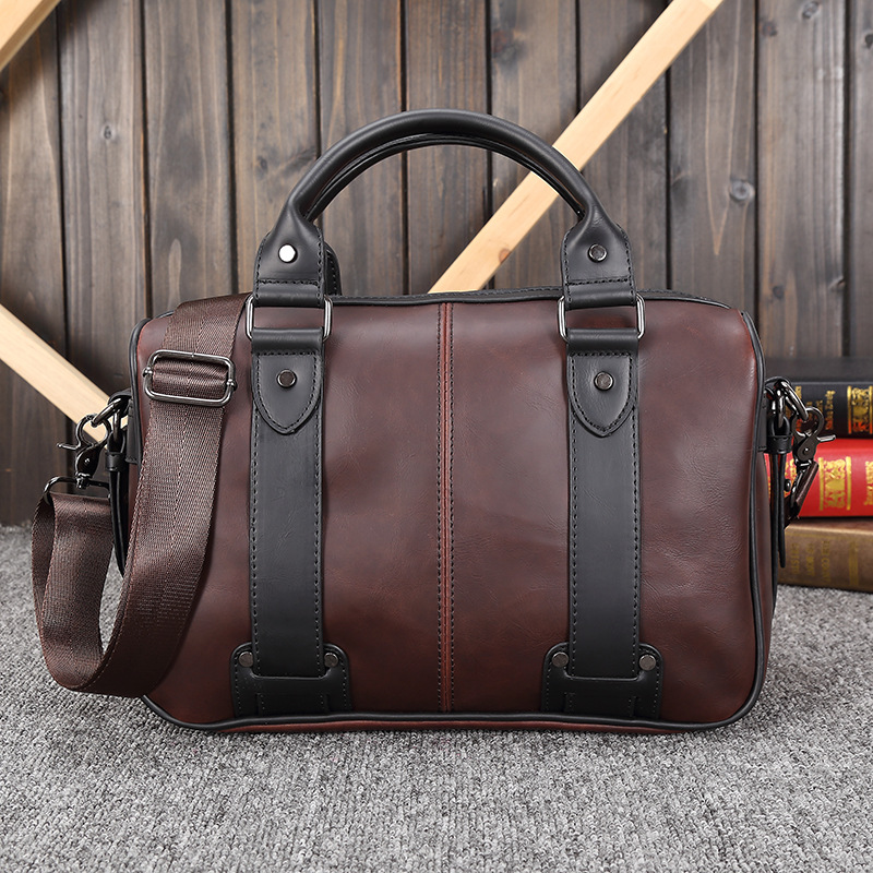 New PU Leather Retro Men Bag Casual Business Men Hit Color Handbag Fashion Shoulder Messenger Bag 38*25*6  CM johns hopkins – knowledge for the world