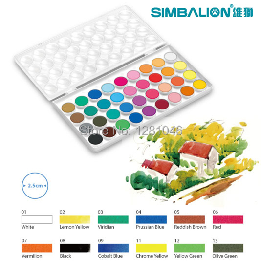 LifeMaster Simbalion 12/16/28/36 Solid Watercolor Paint CAKES Portable Perfect Outdoor Painting Pigment Kids Gift Stationery Set mungyo stationery set 12 24 48 color art solid watercolor painting pigment write iron box packaging