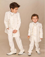 Custom Suit Boys Ivory 4 Piece Suit Boy Wedding Suits Boy Tuxedo(Jacket+Pants+Vest+Tie) Boys Dress Suit Gentlemen Blazer Bespoke