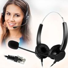 Discount! DOITOP Hands-free Call Center Binaural Headset Headphone With Mic Noise Cancelling 4-Pin RJ9 Crystal Head for Desk Telephone #