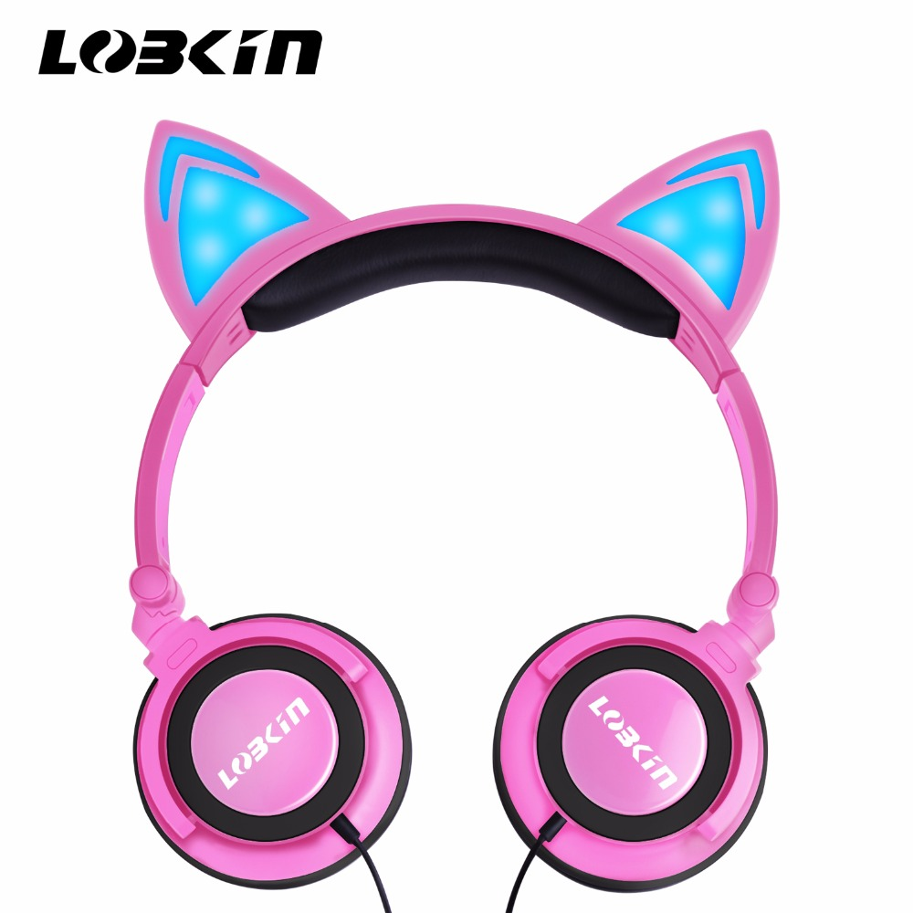 LOBKIN Cat Earphones Children's Headphones Flashing Glowing Cosplay Fancy Over-Ear Gaming Headset with LED Light for Girls, Kids fashion cat ear headphones led ear headphone cats earphone flashing glowing headset gaming earphones gifts for adult child girls