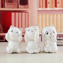 cute 3pcs ceramic cat maneki neko home decor crafts room decoration porcelain animal figurine lucky ornament gift