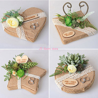 Promotion Free shipping 1pcs custom logo succulent plant wedding ring cushion which is engagement marriage propose decoration