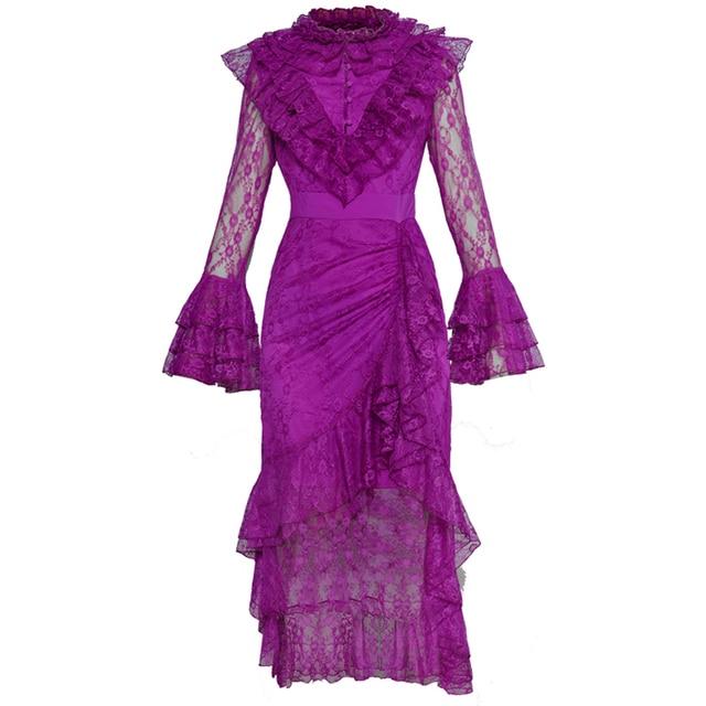 אדום RoosaRosee חדש 2019 אביב קיץ מעצב נשים ארוך אבוקה שרוול מדורג ראפלס אמצע עגל סדיר תחרה סגול שמלות