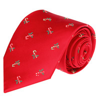 2018 Christmas Tie for Men Silk Red Necktie 8cm Unique Designer Fashion Ties with Gift Box for Mens Accessories Christmas
