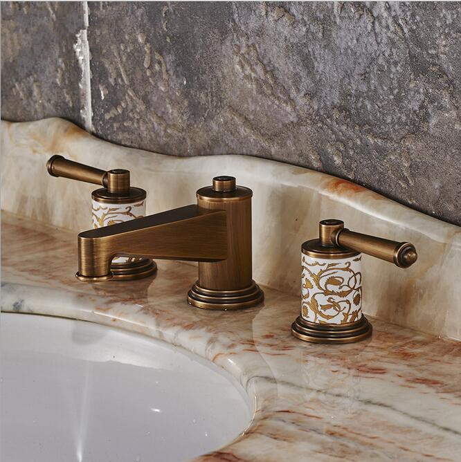 Three hold double handle antique brass faucet bathroom sink tap basin mixer vintage bathroom tap antique brass three holes bathroom sink basin faucet mixer tap dual handle