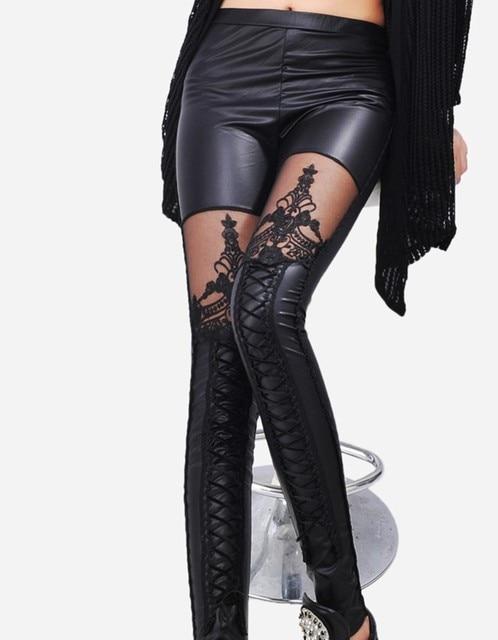 Women Leggings Sexy PU Leather Stitching Embroidery Hollow Lace Legging Women Legging