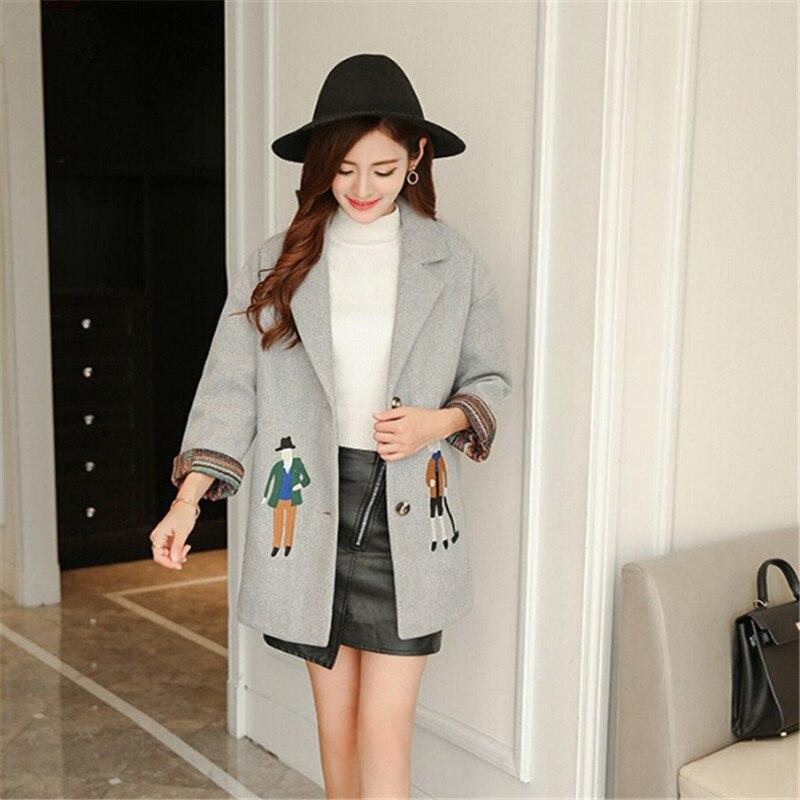 women coats fashion Female woolen jackets Embroidery outwear winter grey coats cashmere coat femme