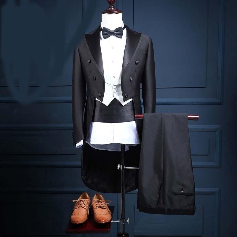 8923267121 Estrela com a seção de lazer estúdio desempenho terno smoking dos homens  Magros (casaco calças colete cinto gravata borboleta