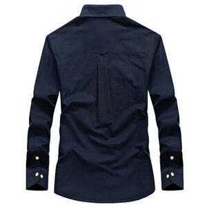 Image 4 - Erkek gömlek uzun kollu camisa sosyal askeri 100% pamuk gömlekler marka bahar sonbahar ordu turn down yaka 4xl gömlek giyim