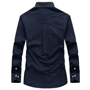 Image 4 - Koszula męska z długim rękawem camisa społeczne wojskowe 100% bawełniane koszule marki wiosna jesień armia skręcić w dół kołnierz 4xl koszule odzież