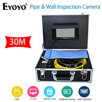 EYOYO 7 LCD Screen 30M HD 1000TVL Sewer Drain Camera Pipe Wall Inspection Endoscope Cam With