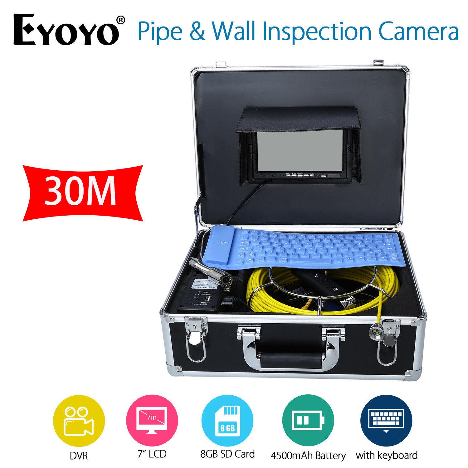 EYOYO 7 LCD Screen 30M HD 1000TVL Sewer Drain Camera Pipe Wall Inspection Endoscope Cam With Keyboard DVR Recording 8GB