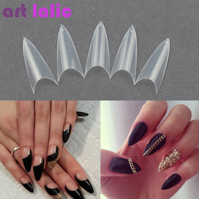 500 Tips False Nail Clear Natural White Point Stiletto French Acrylic Uv Gel