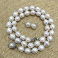 Baixo preço 9-10mm branco colar de pérolas brinco set real natural Cultivadas de água doce pérola forma de lágrima Clássico para as mulheres