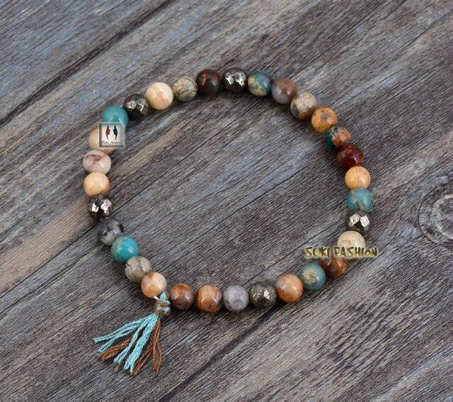 Natural Stones Tassel Stretch Bracelets Boho Elastic Bracelet Handmade Mala Bead Yoga Jewelry - SUKI FASHION JEWELRY store