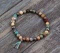 Natural Stones with Tassel Stretch Bracelets Boho Elastic Bracelet Handmade Mala Bead Bracelet Yoga Bracelet Yoga Jewelry