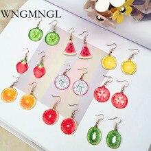 WNGMNGL 2018 New Fashion Fruits Drop Earrings Elegant Cute Apple Orange Acrylic Dangle For Women Charm Female Jewelry