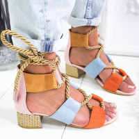 Women Platform Sandals Summer Wedge Espadrilles Women Sandals Heel Pointed Fish Mouth Sandals Hemp Lace Up Women's shoes C3