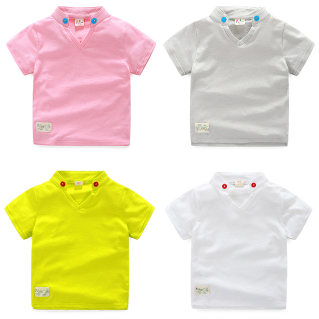9029cd62e 4 Color Kids Boys Summer T-shirt Short Sleeve V Neck Children Tees Pink  Yellow Gray White Top For 1-2-3-4-5-6 Age Baby