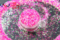 TCR53  Fantasy Iridescent  Rose-Carmine with Green Light color Round Dot 1.0MM Size glitter for nail Art or other DIY decoration