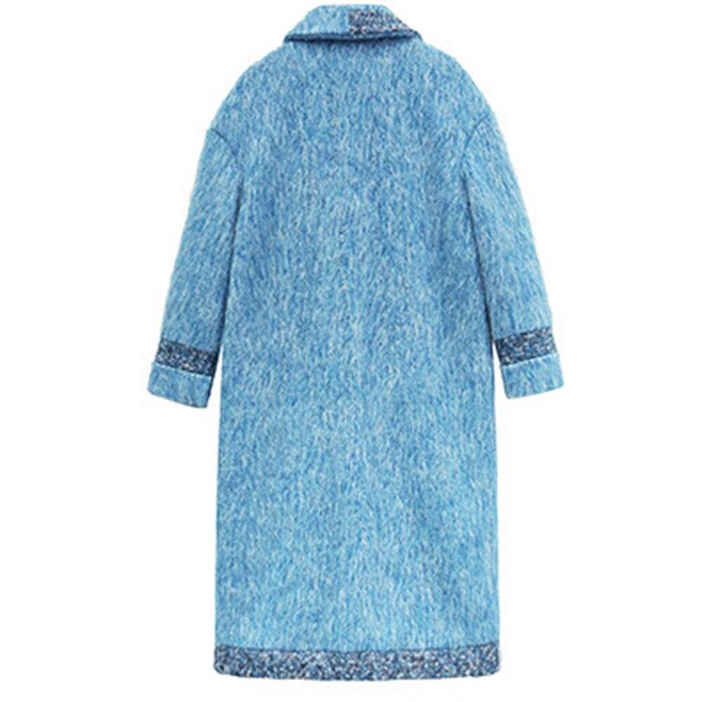 Bleu rouge Lâche Nouveau Manteaux Hiver Dames Vestes Grande En Taille Solide Femmes Femme Mince Lxmsth Vintage Manteau Mode Laine Designer De Long 1RPP5xqf
