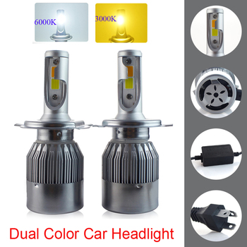 Dual Color Auto Bulbs LED H7 H4 H11 H1 9005 9006 HB2 HB3 HB4 LED Car Headlights 72W 8000Lm DC12V 3000k 6000k Car Styling Source image