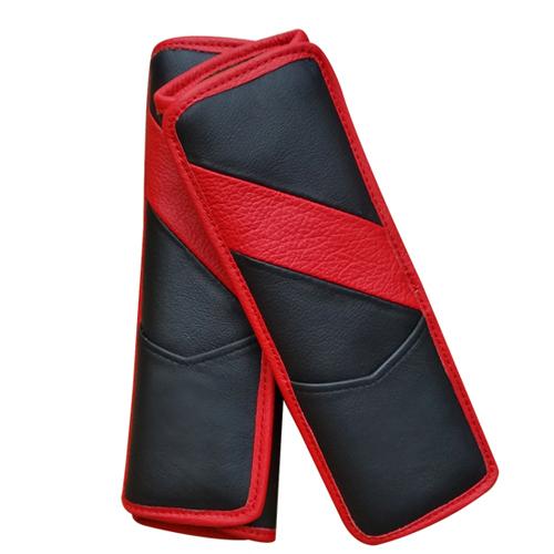 Cuero Real de asiento de automóvil cinturón de seguridad cubre decoración del coche 2 unids - rojo
