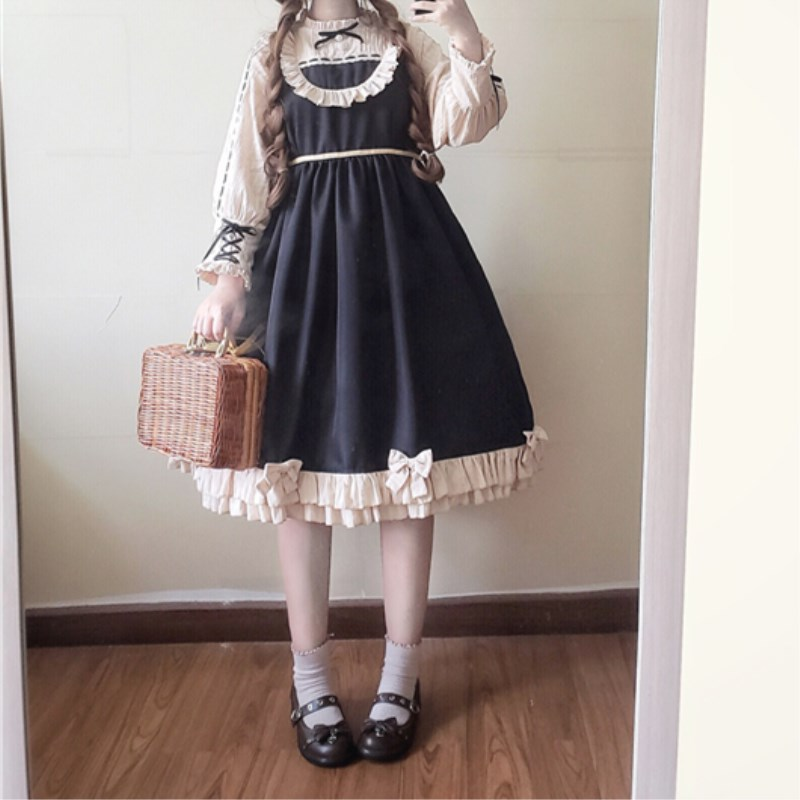 Lolita Style OP Vintage Court Princess Dress Preppy Style Bow Ruffled Knee Length Sweet Large Size